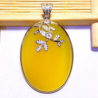 Flowers Leaves Yellow Natural Chalcedony 925 Pendant