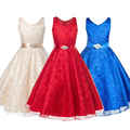 2016 New Christmas Waist Dress Girls Toddler Big Flower Children's Clothing Princess Party Baby Kids Dresses Clothes teenager