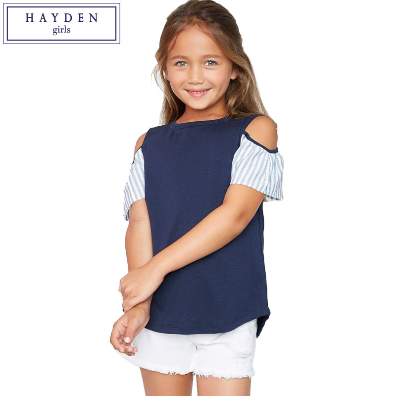 HAYDEN Girls Stripe Tops and Blouses Kids Cold Shoulder Tees Teenagers Cut Out Shoulder Shirt Top Size 7 to 14 Years Old Clothes inc international concepts women s cold shoulder stripe knit top s minnow multi