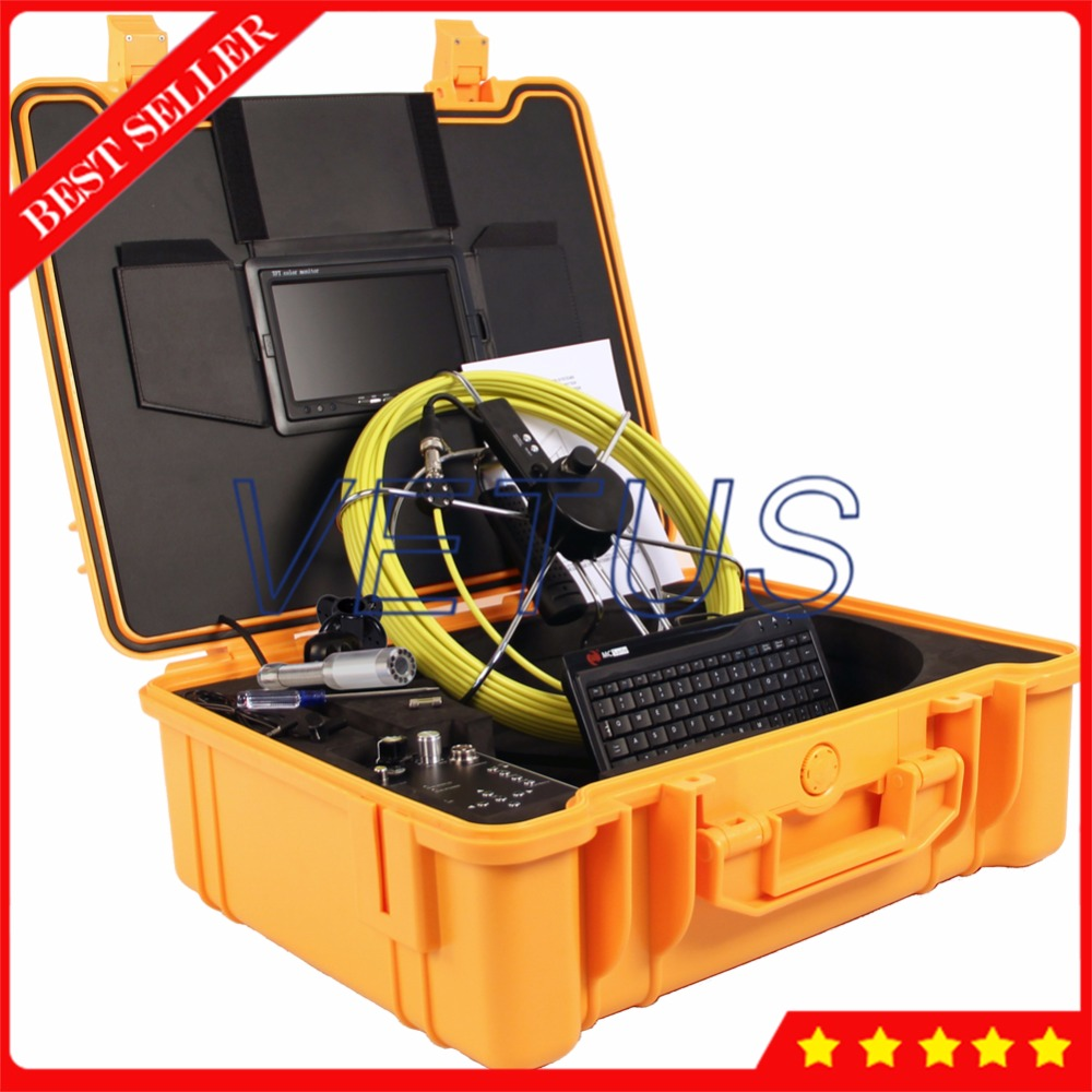 Industrial Endoscope Boroscope Pipe Sewer Inspection Video Camera with Keyboard Meter Counter Built Transmitter Locator 710DNLKC dhl free wp90 50m industrial pipeline endoscope 6 5 17 23mm snake video camera 9 lcd sewer drain pipe inspection camera system