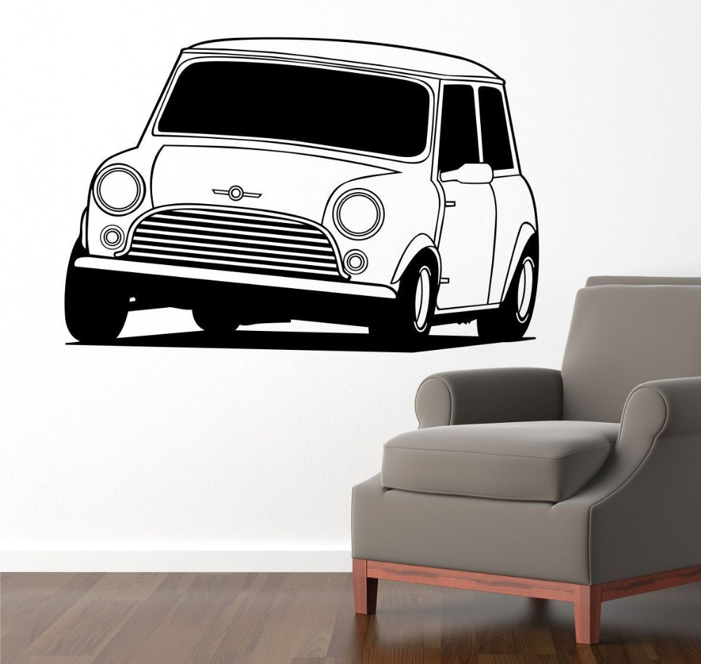 Hot Selling Removable Vinyl Mini Cooper Classic Car Wall Sticker Art Home Decor Decal Living Room Mural Decorative 58x87cm W-915
