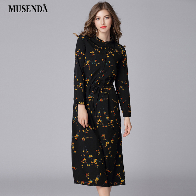 e3d047ac9b199 MUSENDA Plus Size Women Black Chiffon Print Drawstring Waist Long Dress New  2018 Spring Female Party Dresses Vestidos Robe 3XL