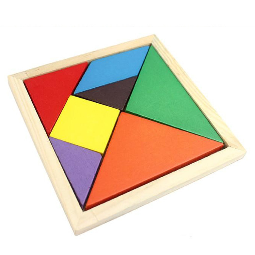 2015 High QualityRainbow Color Wooden Tangram 7 Pieces