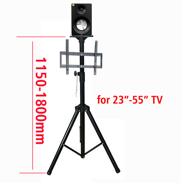 DL-PS602 14-55 height adjustable 50kg tilt LCD PLASMA tv floor tripod stand VESA 400X400 panel holder with speaker tray ...