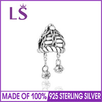 LS Antique 925 Sterling Silver Openwork Winter Hat Charm Beads Fit Original Bracelets Brand Jewelry Accessories