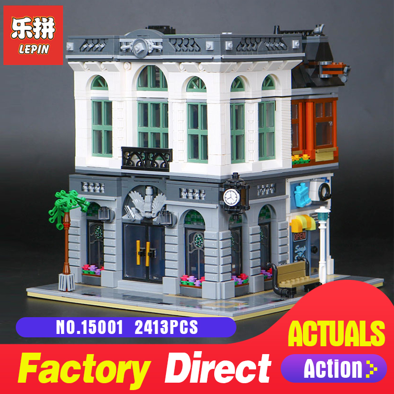 2413Pcs Lepin 15001 Street view Series Bank Model Building Blocks Bricks Toy Compatible With 10251 DIY Funny Educational Gift