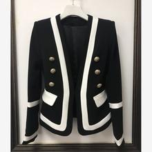 높은 품질 새로운 패션 2020 디자이너 블레 이저 자 켓 여성 클래식 블랙 화이트 컬러 블록 금속 단추 블레 이저