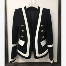 Alta qualidade nova moda 2020 designer blazer jaqueta feminina clássico preto branco cor bloco botões de metal blazer