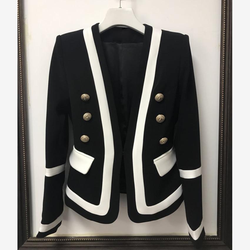 HIGH QUALITY New Fashion 2018 Designer Blazer Jacket Women's Classic Black White Color Block Metal Buttons Blazer