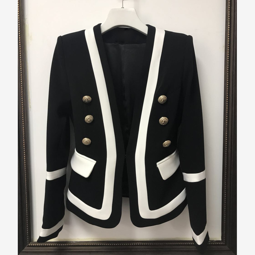 HIGH QUALITY New Fashion 2019 Designer Blazer Jacket Women's Classic Black White Color Block Metal Buttons Blazer