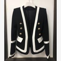 HIGH QUALITY New Fashion 2019 Designer Blazer Jacket Women's Classic Black White Color Block Metal Buttons Blazer