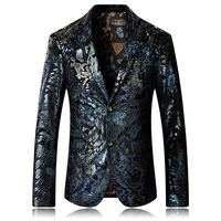 High Quality 2018 New Blazer Men Floral Casual Blazers Masculino Fashion Luxury Stage Party Single Breasted Men Suit Jacket 5XL