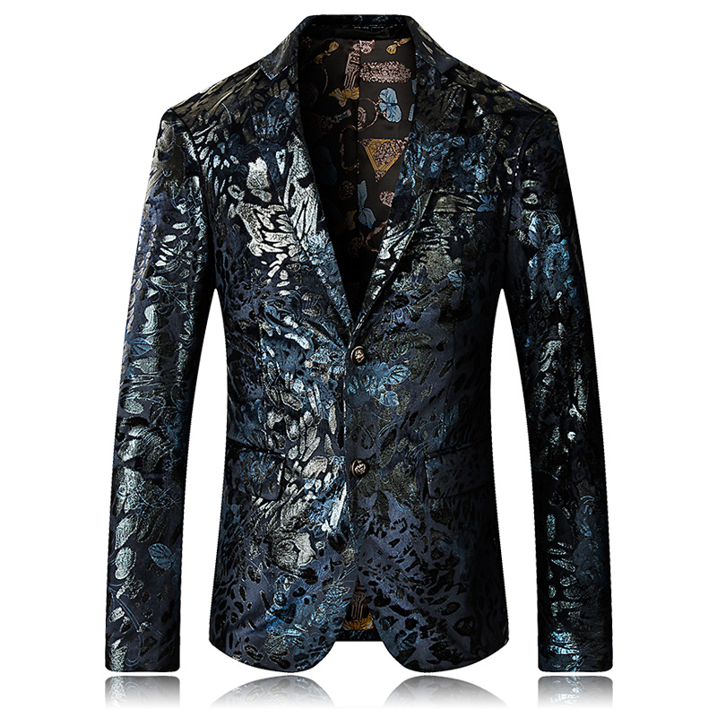 High Quality 2019 New Blazer Men Floral Casual Blazers Masculino Fashion Luxury Stage Party Single Breasted Men Suit Jacket 5XL