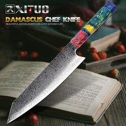 XITUO Chef der Nakiri Messer 67 Schichten Japanischen Damaskus Stahl Damaskus Kochmesser 8 Zoll Damaskus Küche Messer Verfestigt Holz HD
