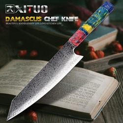XITUO Chef's Nakiri Mes 67 Lagen Japanse Damascus Staal Damascus Koksmes 8 Inch Damascus Keukenmes Gestold Hout HD