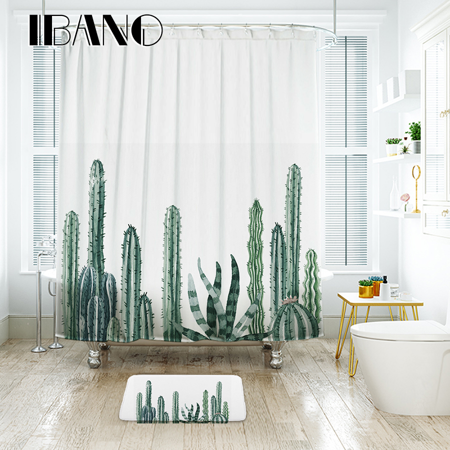 IBANO Tropical Cactus Shower Curtain Waterproof Polyester Fabric ...