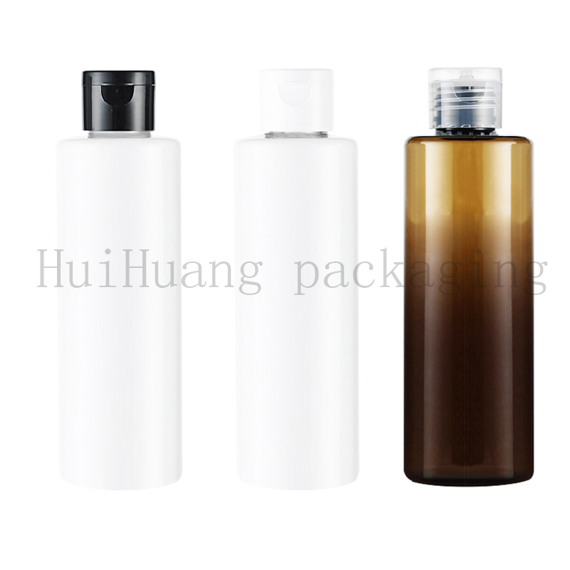 30pcs 250ml Plastic Lotion Bottle Clamshell Tranparent brown white PET Cosmetic Jar Wholesalample bottles for cosmetic