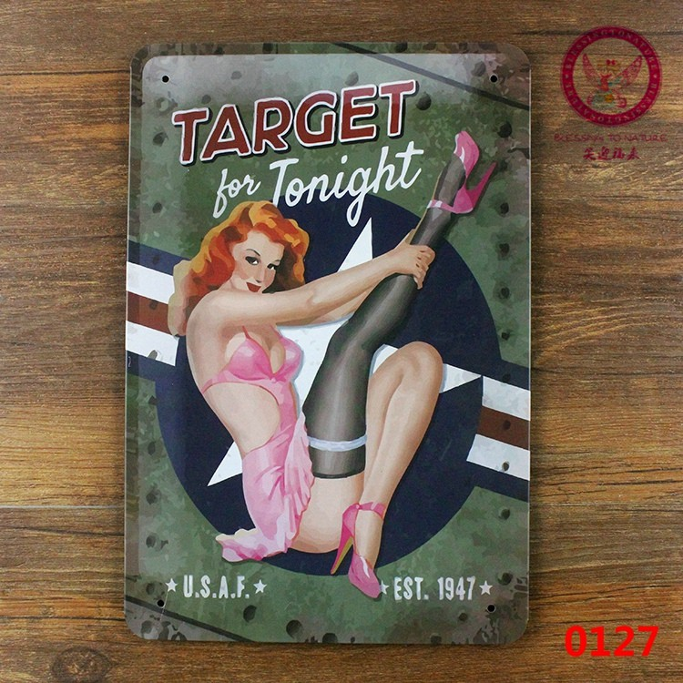 TARGET FOR TONIGHT Pinup Lady Iron Painting Bar Decor Vintage Gift Plaque Wall Poster 20*30 CM Mix Items