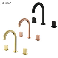 Dual Handle Three holes Widespread Brass Bathroom Basin Faucet Deck Mounted Cold And Hot Water Mixer TAP Gold/Rose Gold/Black