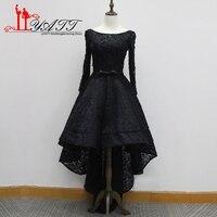 Liyatt Vestidos De Festa Sexy Hi Low Prom Dresses 2017 Long Sleeve Black Lace Evening Dress Beaded Formal Party Prom Dress