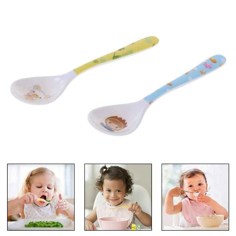 Envío Directo cuchara de bebé cabeza recta alimentación cubertería platos vajilla Niños Infantes alimentador seguro suministros de aprendizaje