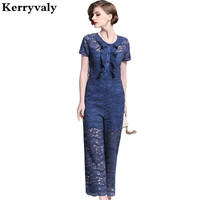 New Summer Wide legged Pink Lace Jumpsuit Monos Mujer Largos 2019 Overall for Women Bodysuit Navy Blue Playsuits K6517
