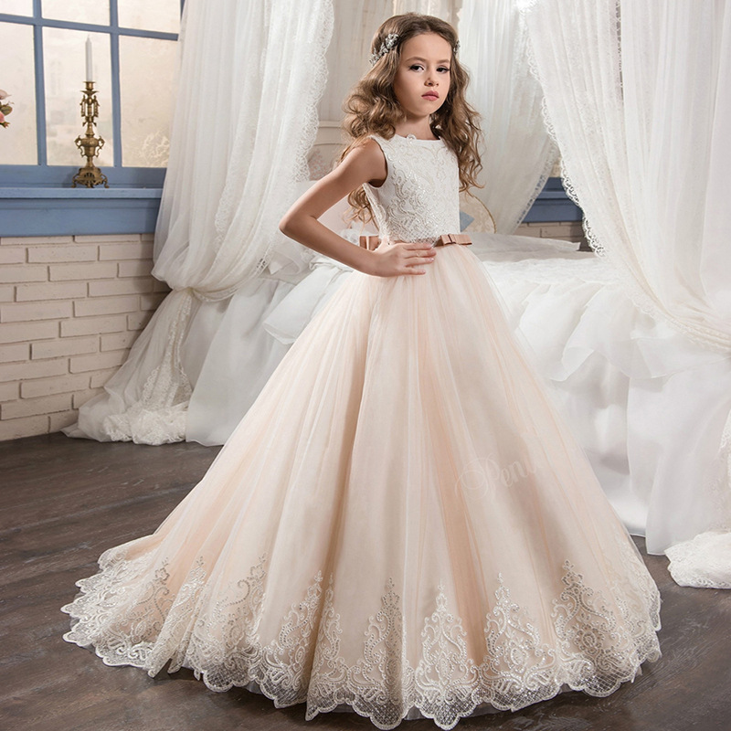 Princess dress Fancy FlowerGirl Dress with Beige Ribbon Bow Crew Neck Mesh Ball Gowns Kids Holy