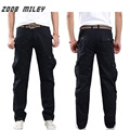ZOOB MILEY Fashion Mens Baggy Cargo Pants Multi-pockets Overalls 100% Cotton Casual Full Length Trousers Plus Size 28-42 No Belt