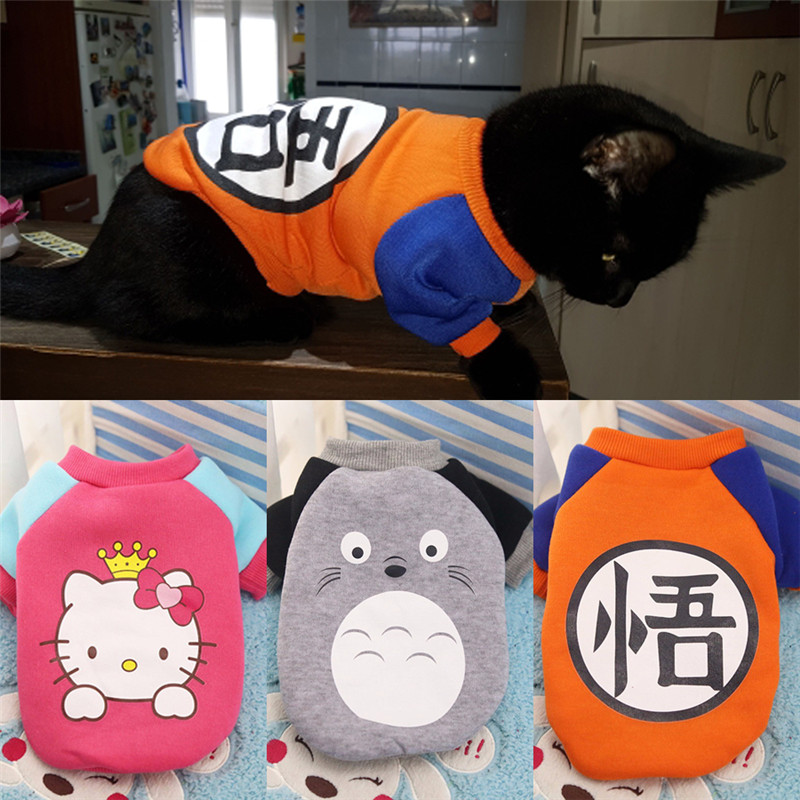 Cute Cartoon Cat Coat Jacket Warm Soft Cotton Pet Clothes For Small Cats Kitty Kitten Sweater Dogs Puppy Costumes Cat Clothing