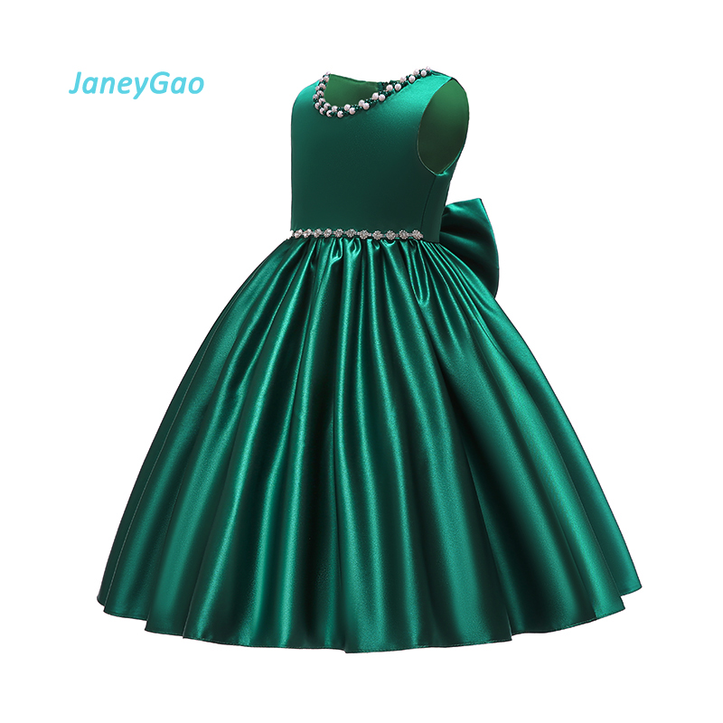 JaneyGao   Flower     Girl     Dresses   For Wedding Party First Communion   Dresses   With Bow Crystal Elegant Diamond Green Little   Girl   2019