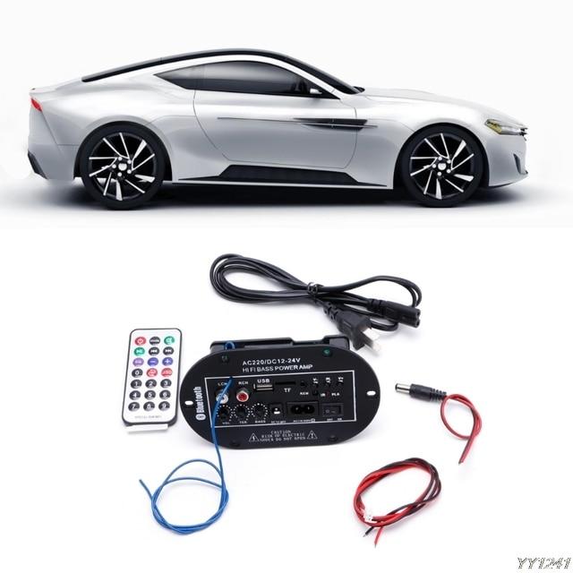 US $9 12 24% OFF|Car Kit 30W Car Bluetooth Subwoofer Hi Fi Bass Amplifier  Board Audio TF USB 220V/12V/24V Built in short circuit protection Y11-in FM