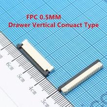 10pcs/lot FPC Connector socket 0.5MM Drawer type Vertical 4P 5P 6P 7P 8P/9/10/12/14/15/16/18/20/22/24/26/28/30/32/38/40/50/60