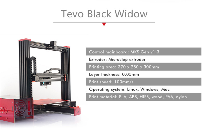 2017 New Arrival Impresora 3D Tevo Black Widow 3D Printer Kit 370*250*300mm Large Printing Size Aluminium Extrusion-GIFT linear guide rail high precision industrial graded transformers impresora 3d printer diy kit aluminium metal frame e6 with box