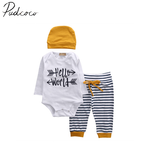 3Pcs Summer bulk Infant Baby Boy Romper Tops LONG sleeve hello world T-shirt+Pants +Beanie + Hats Outfit Set Clothes 3-18M newborn baby boy girl 5 pcs clothing set cotton cartoon monk tops pants bib hats infant clothes 0 3 months hight quality