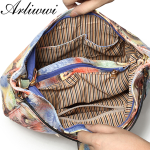 Image 5 - Arliwwi Brand Elegant Shiny Women Handbags Hobos Rainbow Shoulder Bags Female Big Tote Colorful Feature Cross body Bag PY02