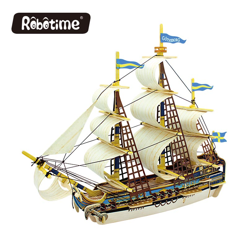 Robotime 3D wooden Puzzle DIY model Building kits Educational diecasts & toy vehicles for Chidren boat ship gifts BA503