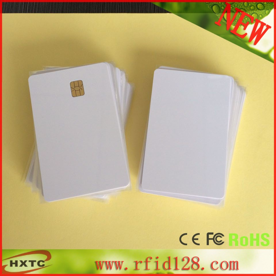 20PCS/Lot  Printable Contact PVC Blank Smart IC Card With FM/Sle4442 Chip For E pson/C anon Inkjet Printer Free Shipping 20pcs lot contact sle4428 chip gold card with magnetic stripe pvc blank smart card purchase card 1k memory free shipping