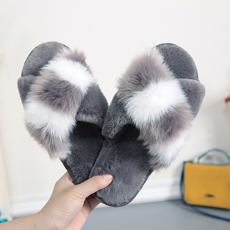 2019 Winter Non-slip Soft Bottom Cotton Slippers New Color Matching Outside Warm Slippers Female Home Indoor Cross Shoes Woman