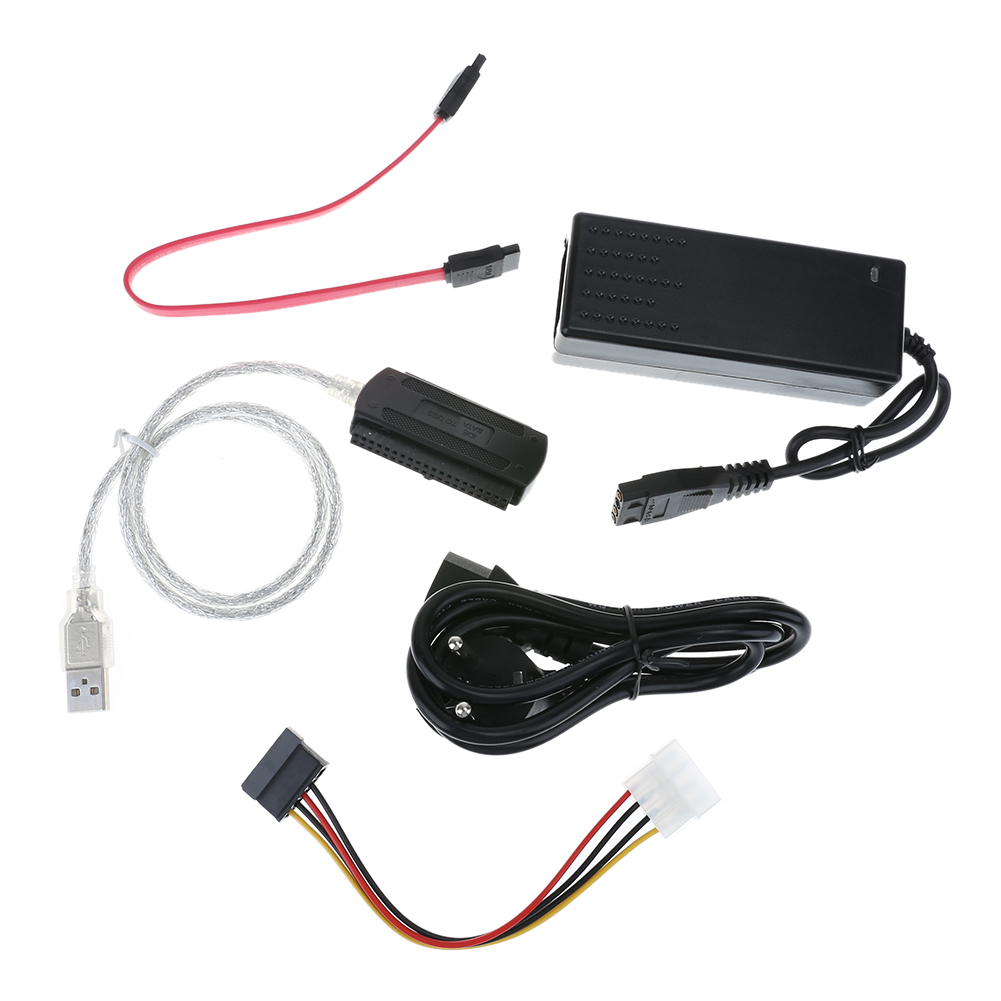 SATA/PATA/IDE Drive to USB 2.0 Converter Cable for HDD with External Power Adapter Cable Supports OS installation via CD