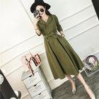 Korean Fashion Blue Green Dress Half Sleeve Everyday Casual Belt Dresses Femme Autumn 2017 Suede Midi Dresses For Women