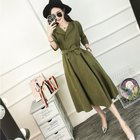 Korean Fashion Blue Green Dress Half Sleeve Everyday Casual Belt Dresses Femme Autumn 2017 Suede Midi Dresses For Women