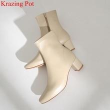 Superstar prawdziwej skóry zamek kwadratowy toe wysokie obcasy kobiet botki runway klasyki moda buty eleganckie buty zimowe L50