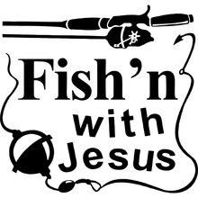 15.2cm * 14.5cm Fishing With Jesus Christ Christian Car Sticker Vinyl Decorate Accessories