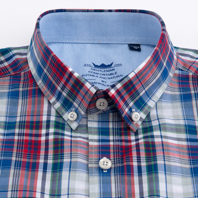 Image 2 - Men's Standard Fit Short Sleeve Checkered Plaid Shirt Single Patch Pocket Casual  Button down Comfortable Cotton Dress Shirts-in Dress Shirts from Men's Clothing