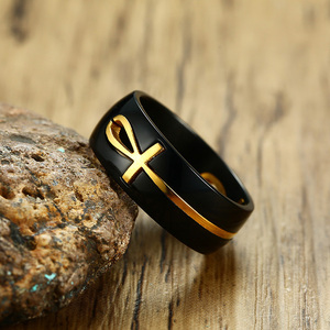 Image 4 - Mens Cut out Ankh Egyptian Cross Rings Two Tone Stainless Steel Detachable Allah Black Religious Male Anel