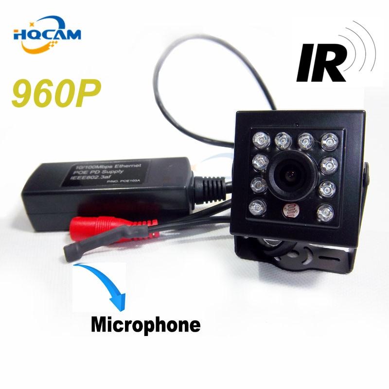 HQCAM 960P Night Vision camera mini ip camera poe 10pcs 940nm IR led POE camera Mini Ip Kamera 1/3 CMOS Hi3518e ip camera POE fields of vision