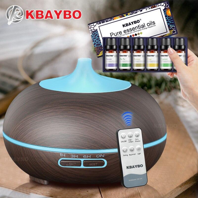 KBAYBO 300 ml Controle Remoto Grão de Madeira Óleo Essencial Ultrasonic Aroma Difusor Névoa Fria Umidificador para o Office Quarto Quarto Do Bebê