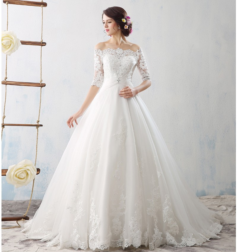 8e7aab525438 Image Designer Boat Neck Soft Lace Applique Ball Gown Wedding Dresses 2016 Half  Sleeve Wedding Gown