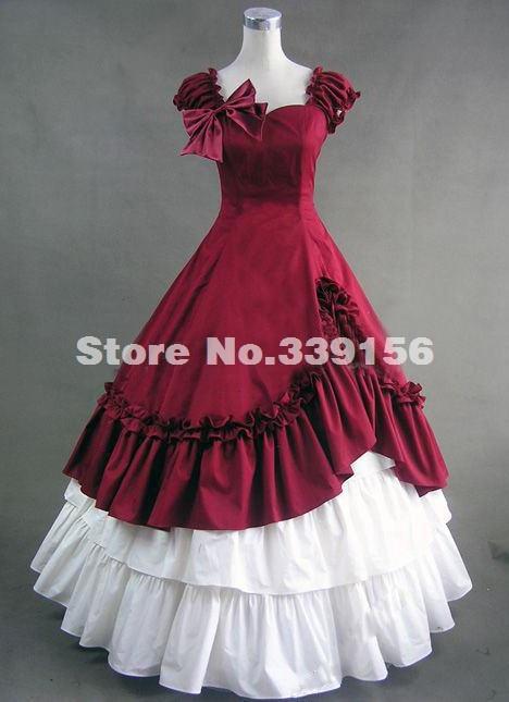 Hot Sale Elegant Red Short Sleeve Bow Victorian Dresses -6857
