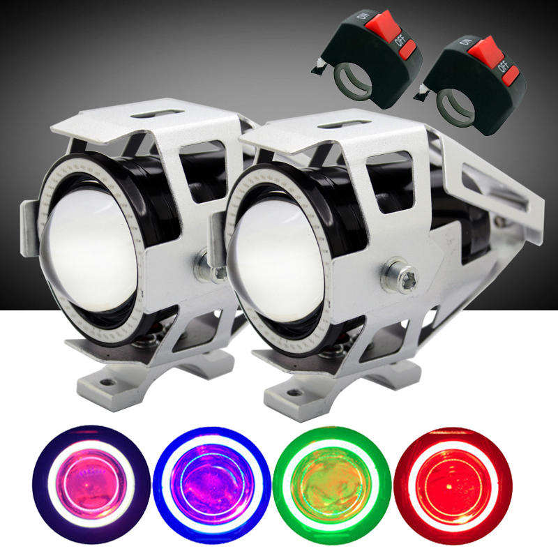 SUNKIA 2 db / pár kapcsolóval ördögi szemmel 12V CREE Chip U7 LED motorkerékpárok Vezető fényszóró Ködlámpa Nappali menetjelző ezüst